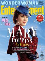 "Emily Blunt as ""Mary Poppins"" on the cover of ""Entertainment Magazine""."