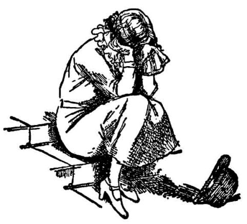 """""""Mrs. Banks"""" - seen here crying on the stairs because Mary Poppins is gone - gives birth to """"Annabel"""" in """"Mary Poppins Comes Back"""", to which """"Mr. Banks"""" says: """"You are a very stupid woman."""" That's typical Travers for you. (From """"Mary Poppins Comes Back"""", illustration by Mary Shepard)"""