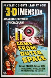 """It Came From Outer Space"", 1953. A spaceship from another world crashes in the Arizona desert and only an amateur stargazer and a schoolteacher suspect alien influence when the local townsfolk begin to act strangely."