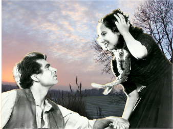 "Illustrations of ""Heathcliff"" and ""Kathy"", from stills of the 1939 black and white film version of the book, superimposed on photos of the Grove Hotel, Watford, Hertfordshire, UK. (Images by M. Bijman, from ""Feels Like Wuthering Heights"", Blurb Inc., 2011.)"