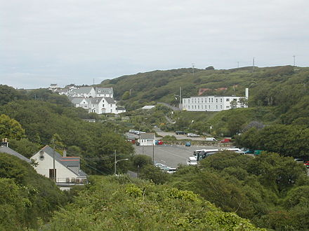 Porthcurno Valley looking north showing the car park and a few of the former Engineering College buildings. (Image: Wikipedia)
