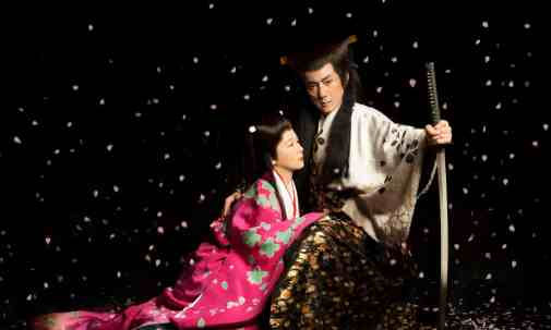 "Yukio Ninagawa's Japanese adaptation of ""Macbeth"", 1980, Macbeth, set in the 16th century Japanese Civil War, with Yūko Tanaka and Masachika Ichimura. Photograph: Sakurahutari"