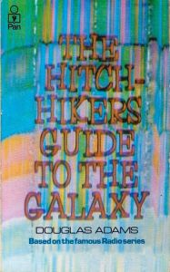 "Cover of the first edition of the novel of ""The Hitchhiker's Guide to the Galaxy"", by Douglas Adams"