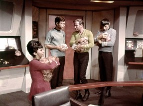 No-one could resist petting the tribbles, not even Spock.