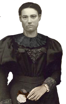 So, to give this ancestor a face, I recreated her chin and neck, then her wide-sleeved black dress - she was probably in mourning. Unfortunately, she is sitting down, and her torso is also blurred. So I gave her a dress and a hand that are similar in style to her own.