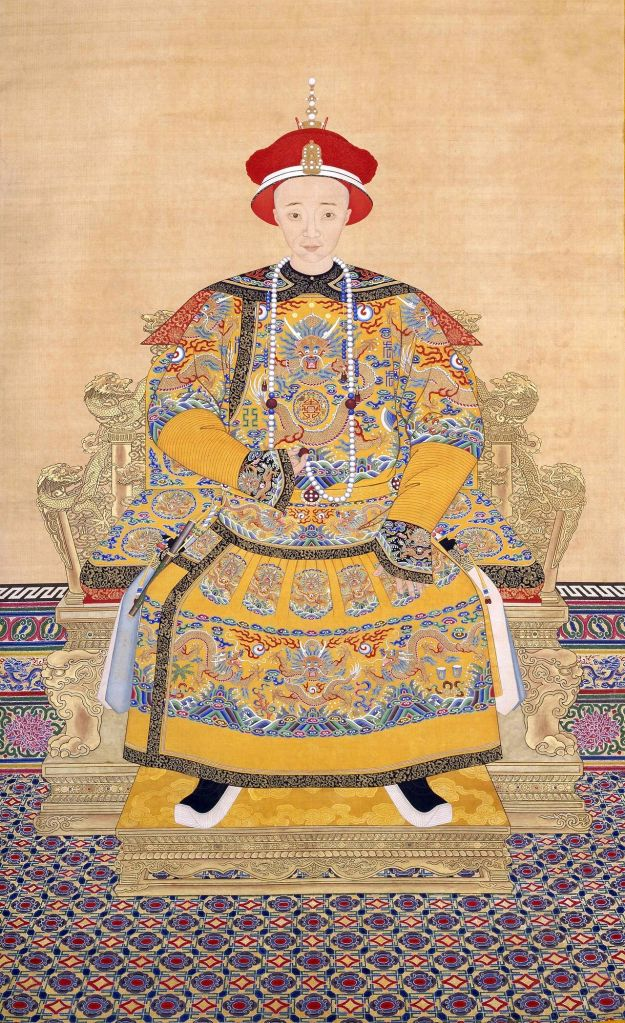 """A court portrait of the Xianfeng Emperor (17 July 1831 – 22 August 1861), temple name Emperor Wenzong of Qing (清文宗), given name Yizhu (奕詝), was the eighth Emperor of the Qing dynasty. He was Cixi's husband - she was one of his consorts. After his death from """"over-indulgence"""", he was succeeded by his and Cixi's six-year-old son, Zaichun. (Source: Palace Museum, Beijing)"""
